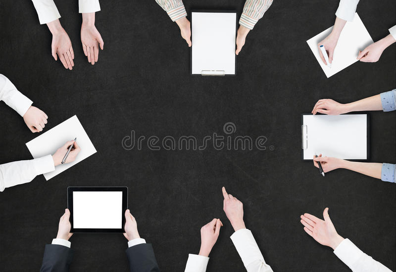 Brainstormingsconcept/Luchtmening van Bedrijfsmensen stock foto's