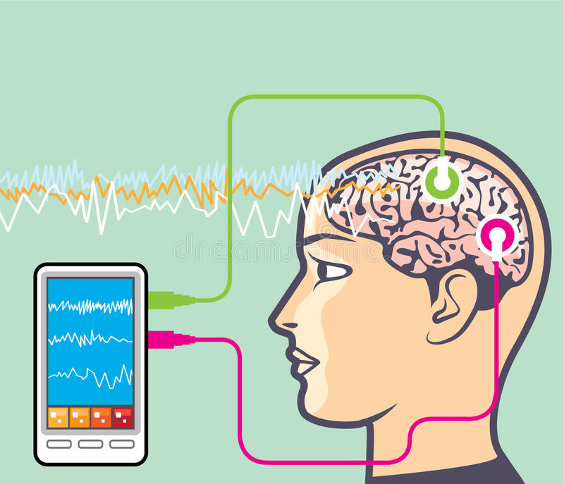 Brainwave monitorowanie wektor royalty ilustracja