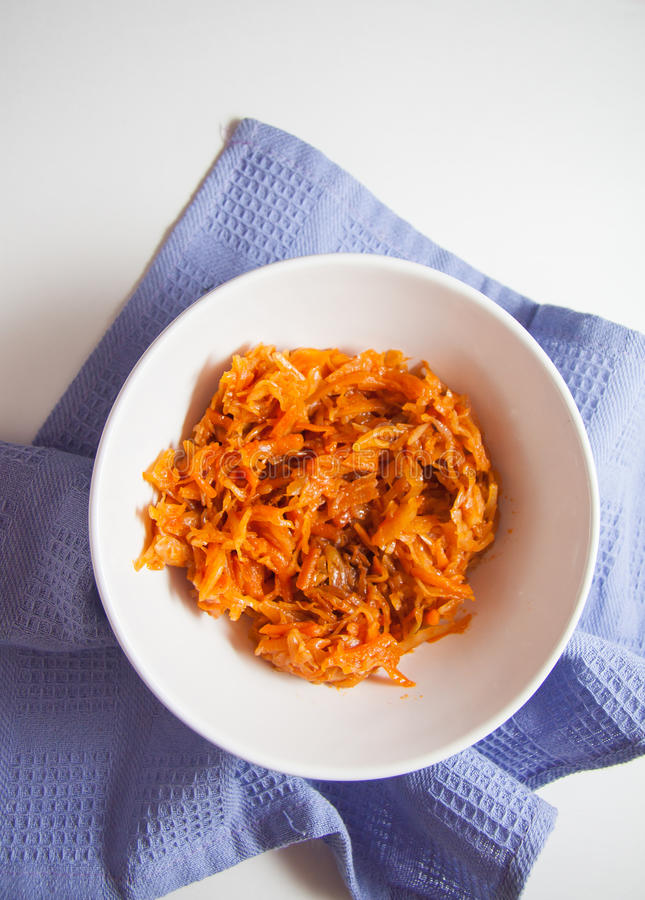 Braised with cabbage with pepper. Braised cabbage with tomato - delicious european starter stock image