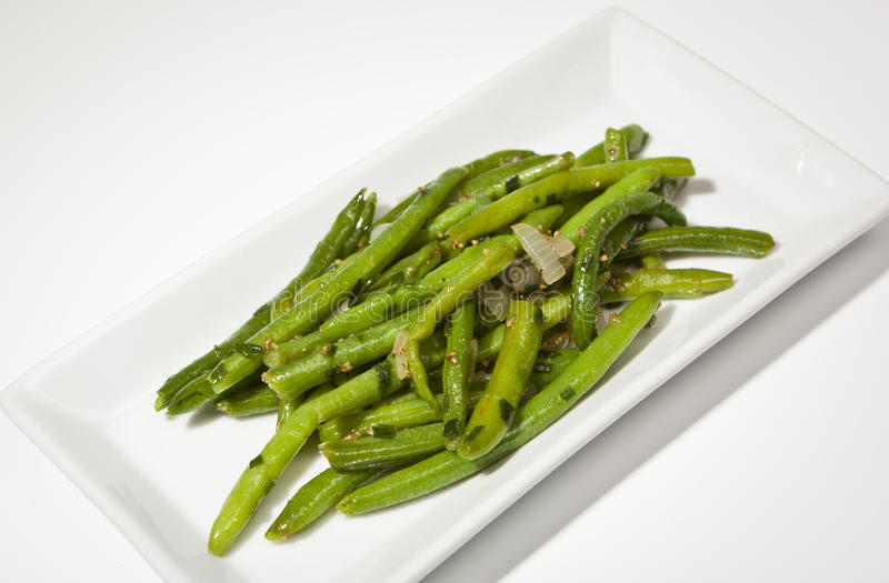 Braised green Beans. The Picture shows a pile of green braised Beans royalty free stock photos