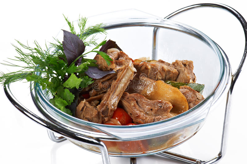 Braised meat ribs with vegetables stock photo