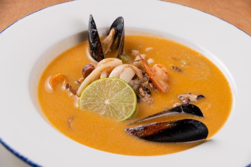 Braised mussels słuzyć na białym talerzu obrazy stock