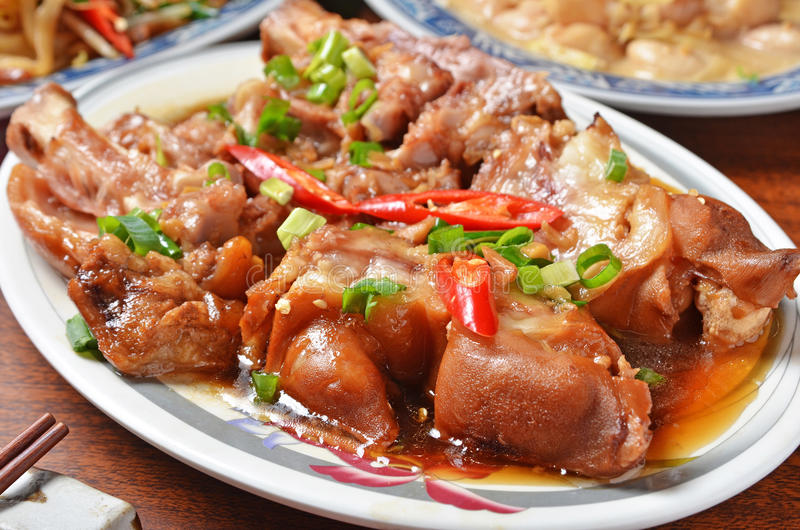 Braised pig knuckles royalty free stock image
