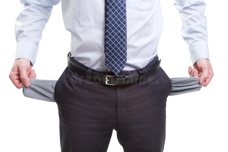 Brak en slechte bedrijfsmens met lege zakken stock foto