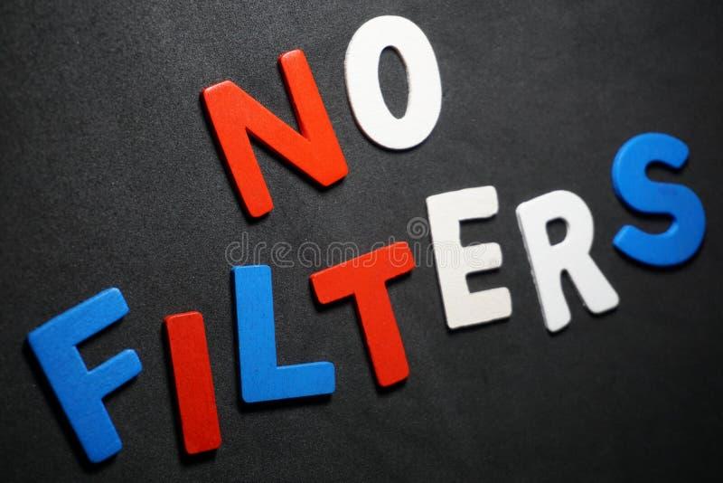 Brak filtrów na czarnym tle fotografia stock