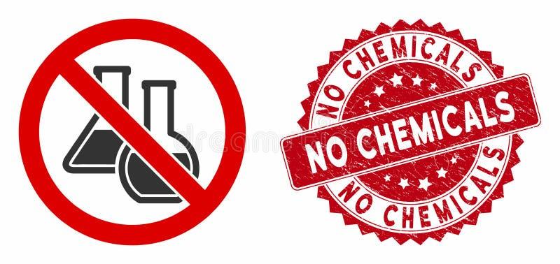 Brak ikony substancji chemicznych z podrobioną pieczęcią royalty ilustracja