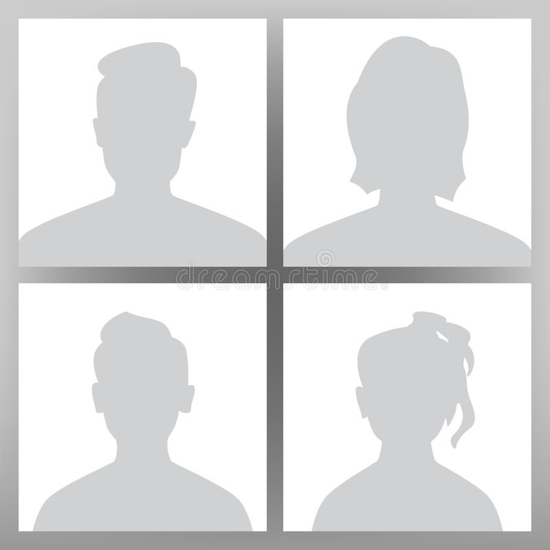 Braka Avatar wektor Placeholder set Mężczyzna, kobieta, dziecko Nastoletnia chłopiec, dziewczyna Użytkownika wizerunku głowa Anon ilustracja wektor