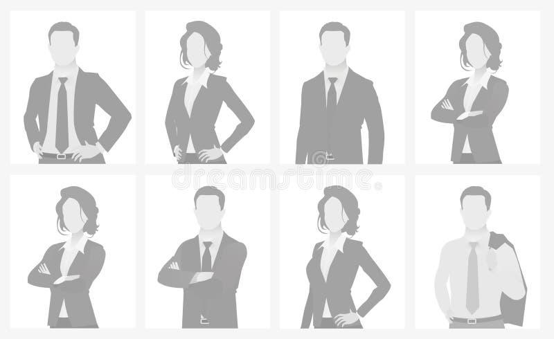 Braka placeholder kobiety i mężczyzna długości pora ilustracja wektor