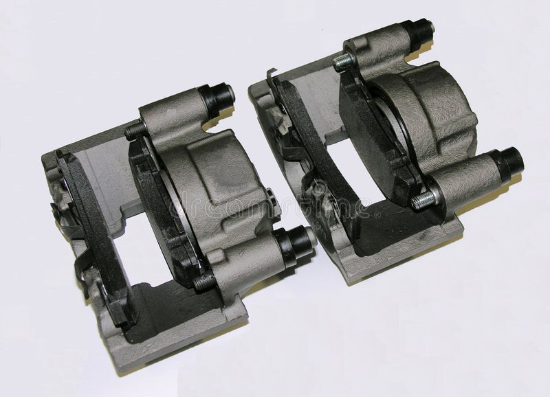 Brake calipers with brake pads stock image