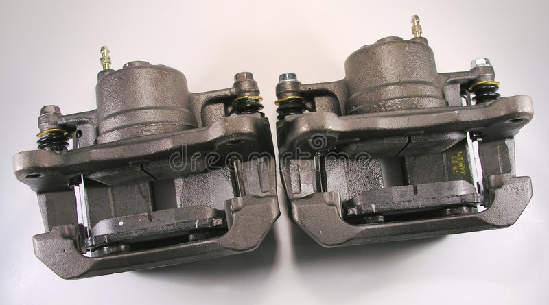Brake Calipers and pads. royalty free stock images