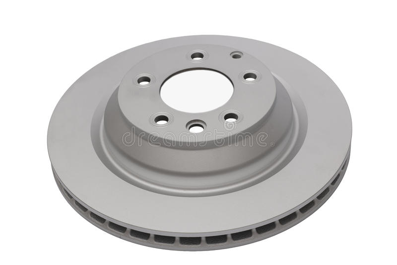 Brake disc. A large ventilated car brake disc. Cut out on white royalty free stock photos