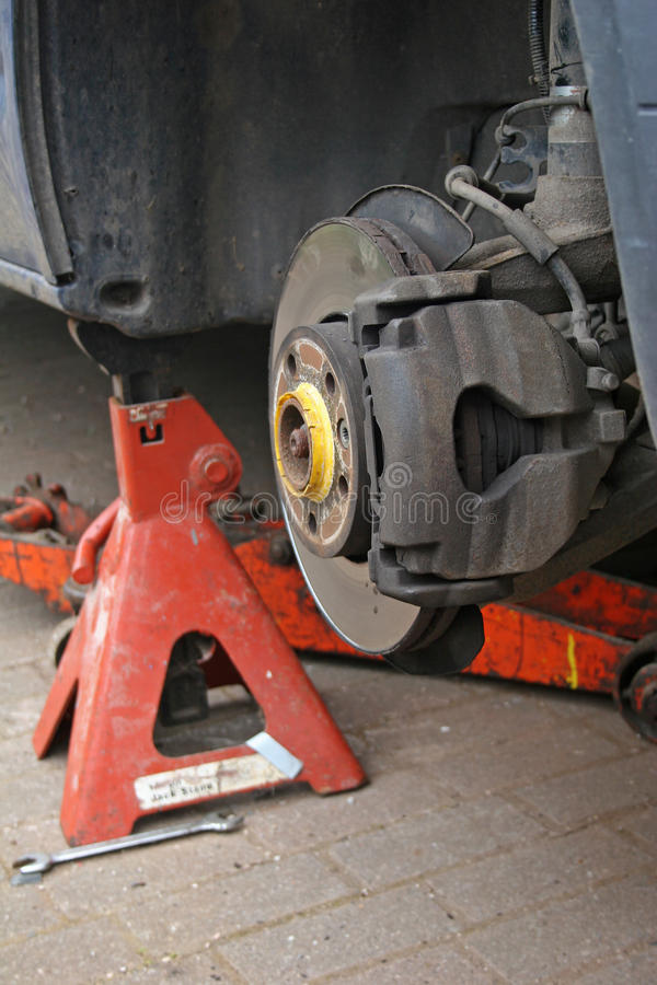 Brake disc. On van under repair stock images