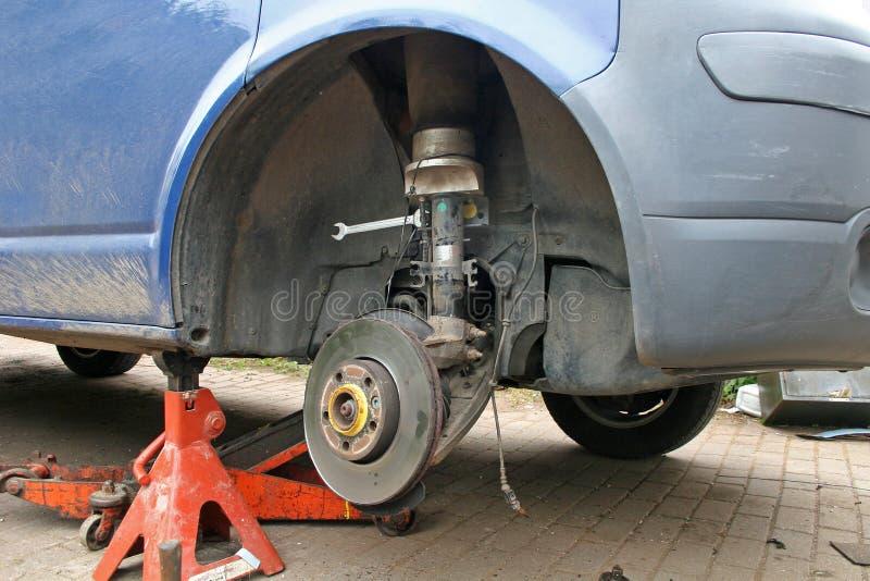 Brake disc. On van under repair royalty free stock photos