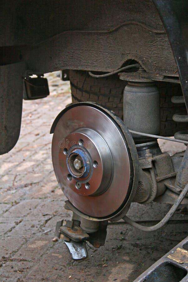 Brake disc. New brake disc during repair on van royalty free stock photography