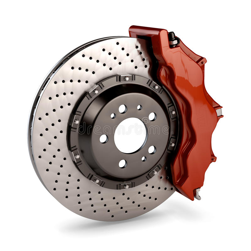 Free Brake Disc And Red Calliper From A Racing Car Stock Photography - 26609292