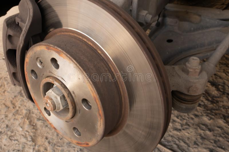Brake disc, caliper and ball joint of a car. royalty free stock images