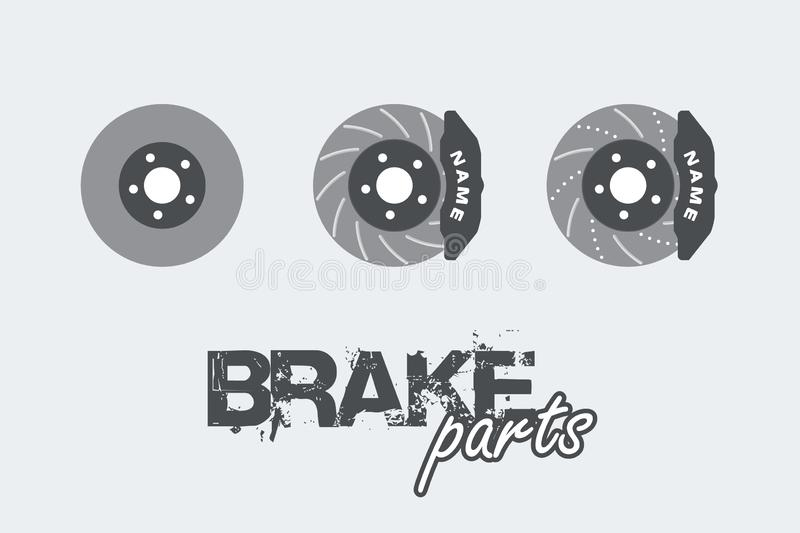 Brake disc with caliper sign simple icon on background. Vector illustration vector illustration