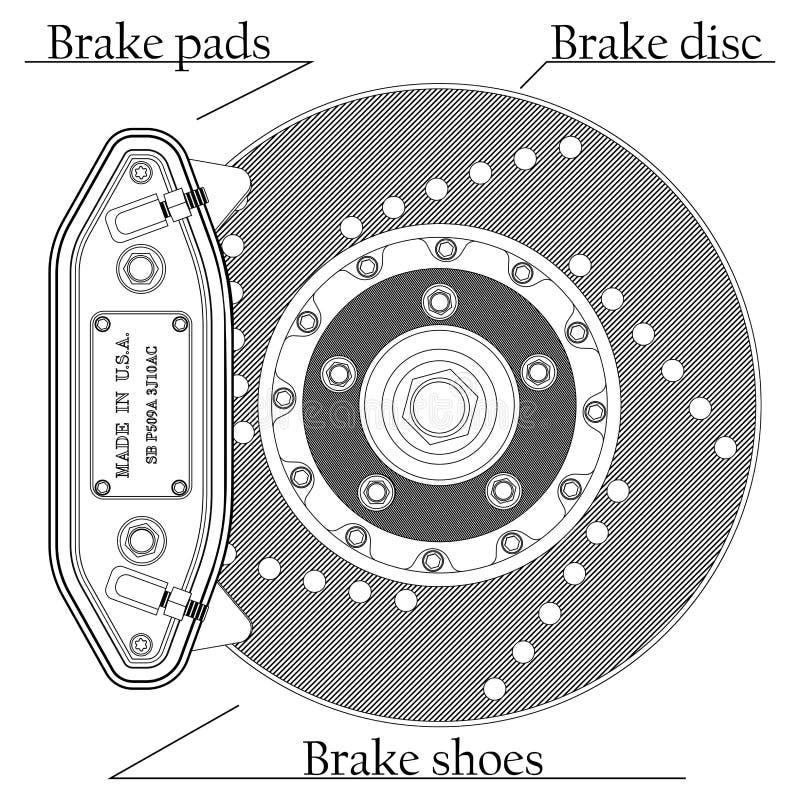 Brake disc with caliper. Vector illustration of brake disc with caliper on a white background vector illustration