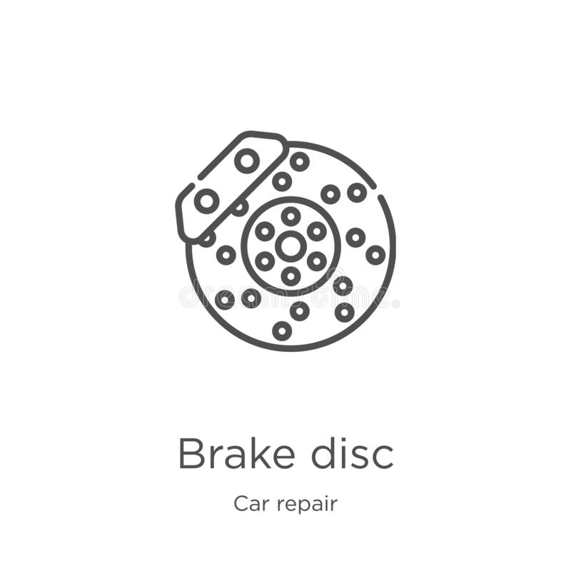 brake disc icon vector from car repair collection. Thin line brake disc outline icon vector illustration. Outline, thin line brake royalty free illustration