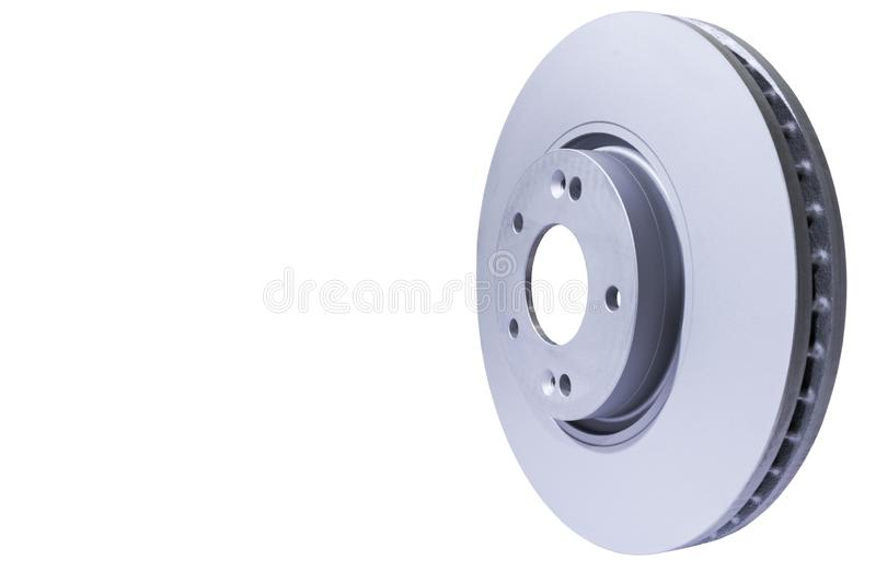 Brake disc isolated on white background. Auto parts. Brake disc rotor isolated on white. Braking disk. Car part. Car detailing royalty free stock photo