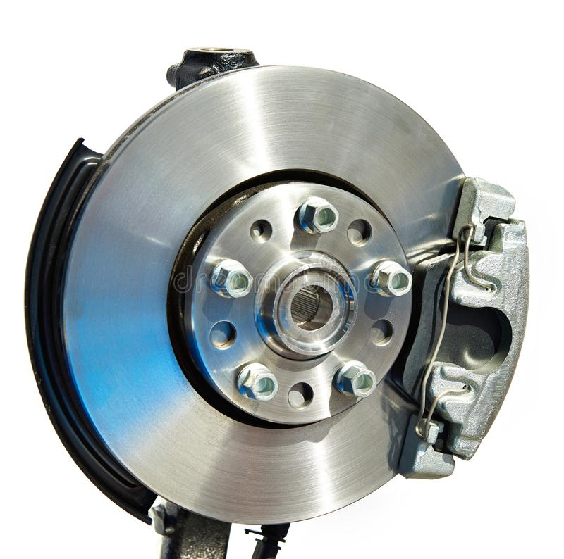 Brake disc and support with pads. For car stock photography