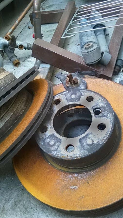 Brake disc. Very old Brake disc stock photo