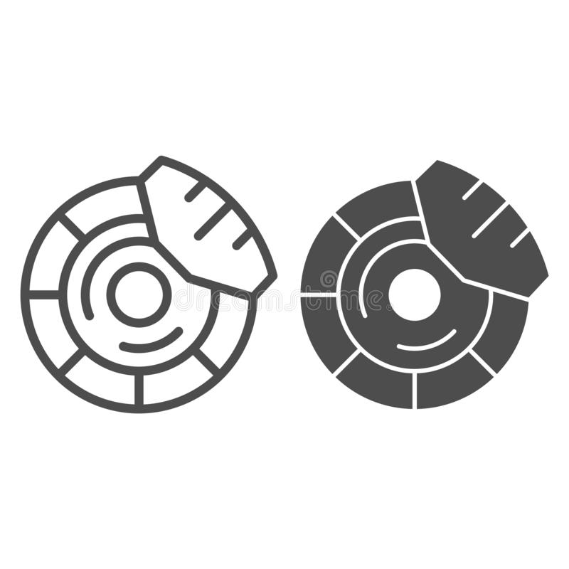 Brake discs line and glyph icon. Brake shoe vector illustration isolated on white. Car part outline style design. Designed for web and app. Eps 10 royalty free illustration