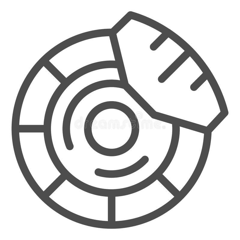 Brake discs line icon. Brake shoe vector illustration isolated on white. Car part outline style design, designed for web. And app. Eps 10 royalty free illustration