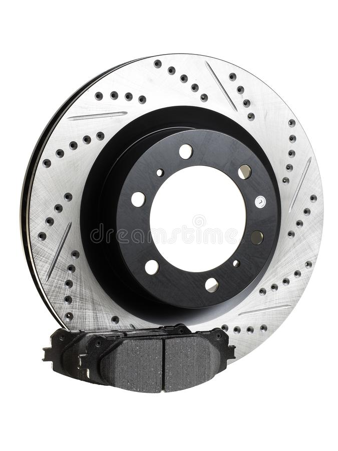 Brake discs and pads on a white background. Auto shop royalty free stock photos