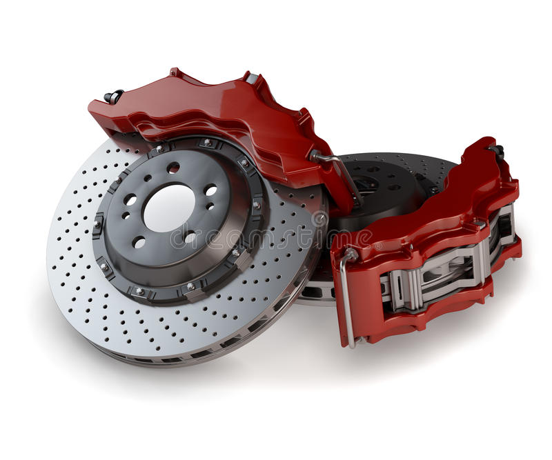 Brake Discs with Red Callipers from a Racing Car stock illustration