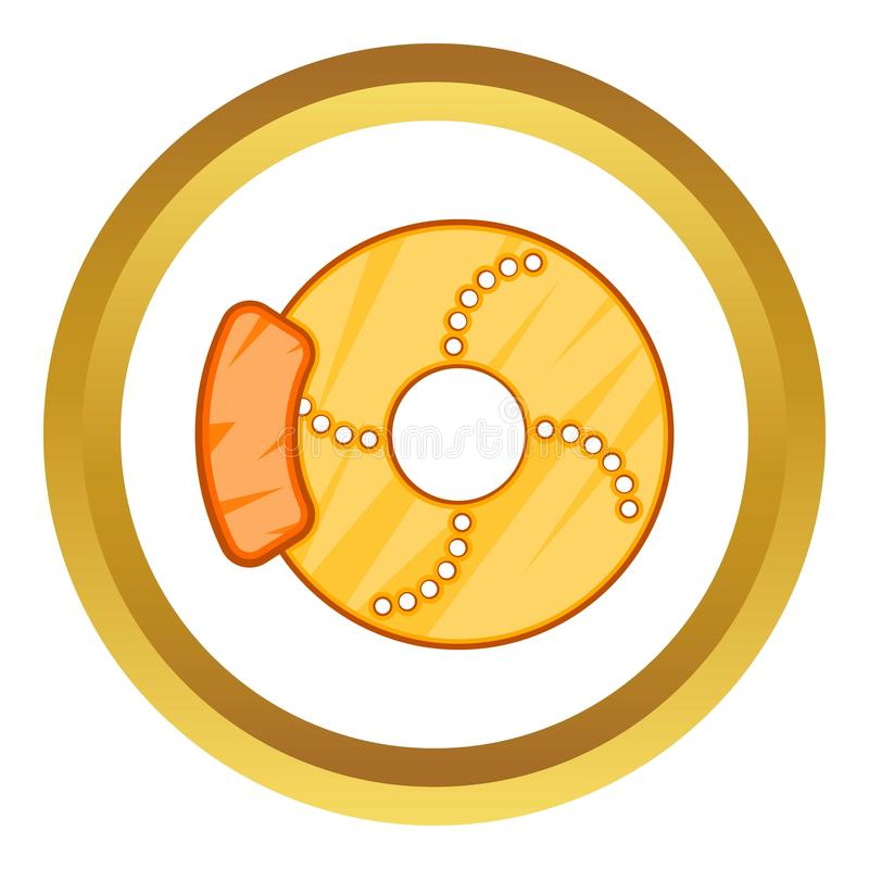 Brake disk icon. In golden circle, cartoon style isolated on white background vector illustration
