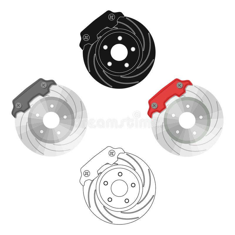Brake disk single icon in cartoon,black,outline,black style for design.Car maintenance station vector symbol stock. Illustration vector illustration