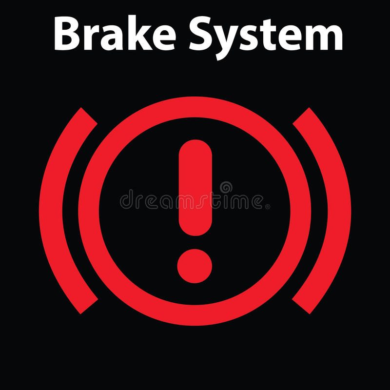 Download Brake Light Signal Icon On The Car Panel. Dashboard Warning Signs.  Attention Icon
