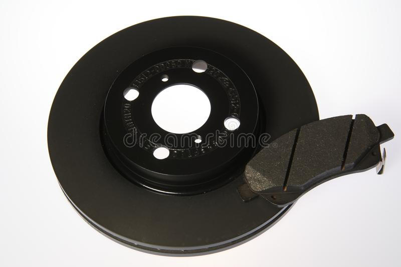 Brake pad and disc. Brake pad whit disc for automotive use royalty free stock photo
