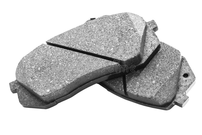 Brake pads isolated on white background. Auto parts. Brake pads isolated on white. Braking pads. Car part. Car detailing. Spare pa. Rts. Black and white stock images