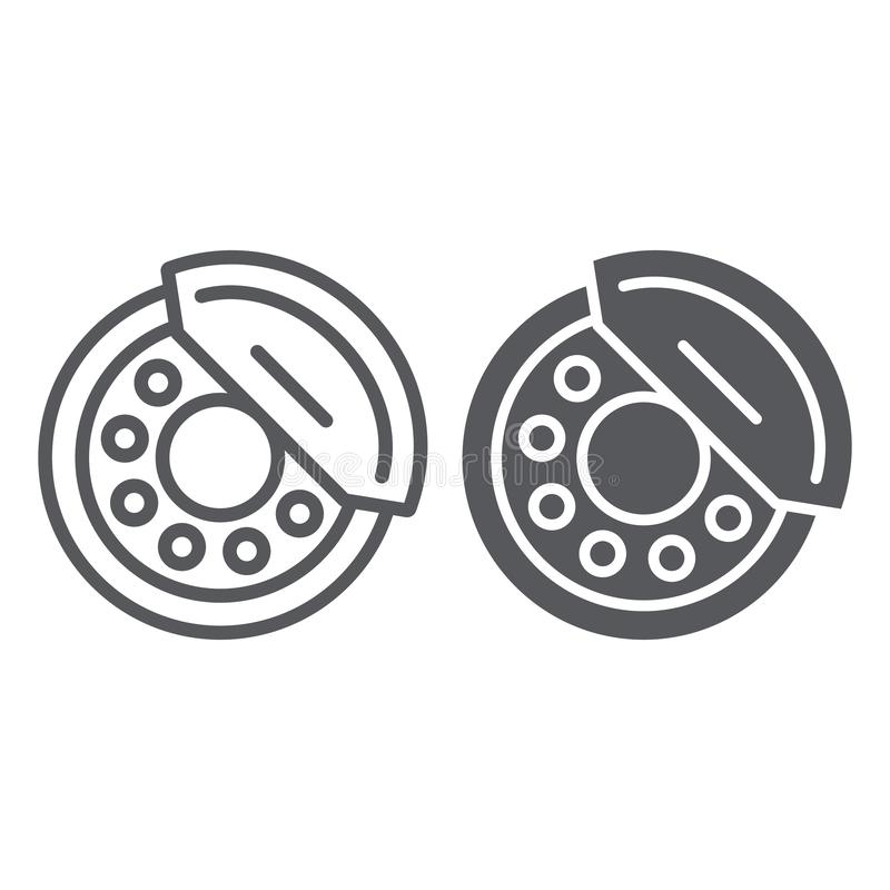 Brake pads line and glyph icon, auto and part, brake shoe sign, vector graphics, a linear pattern on a white background. Brake pads line and glyph icon, auto royalty free illustration