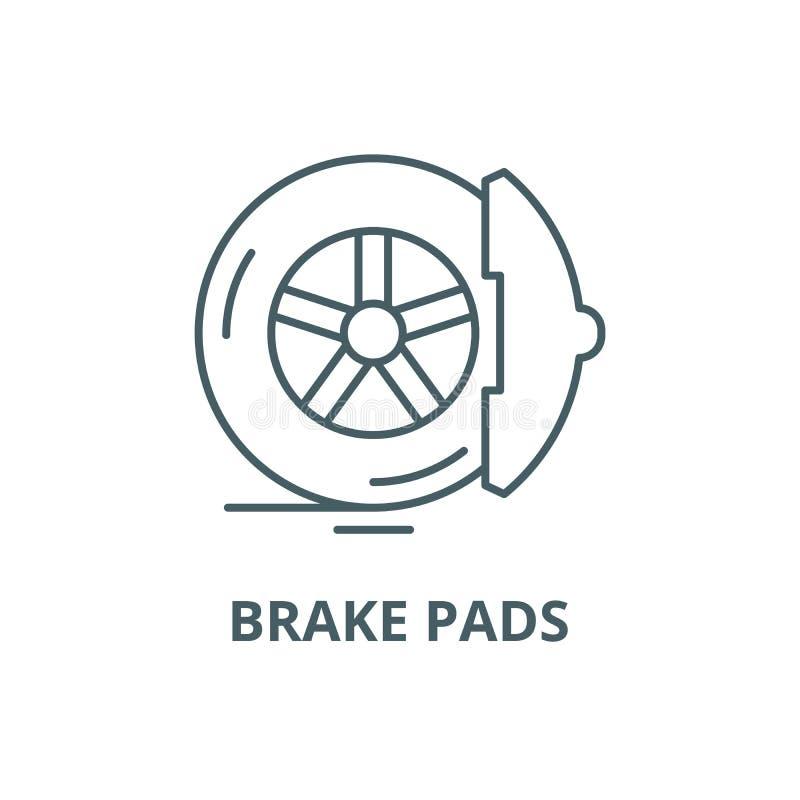 Brake pads line icon, vector. Brake pads outline sign, concept symbol, flat illustration. Brake pads line icon, vector. Brake pads outline sign, concept symbol vector illustration