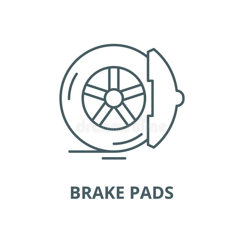 Brake pads vector line icon, linear concept, outline sign, symbol. Brake pads vector line icon, outline concept, linear sign royalty free illustration
