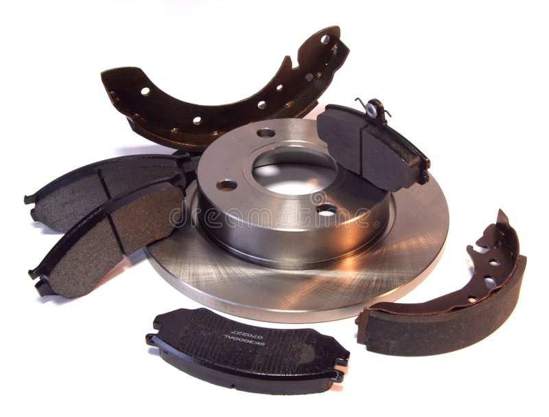Brake parts. A composition of car brake parts - pads, disc and shoes