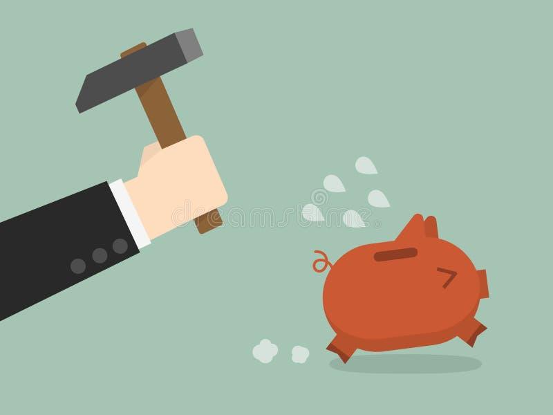 Brake piggybank. Businessman try to brake piggybank stock illustration