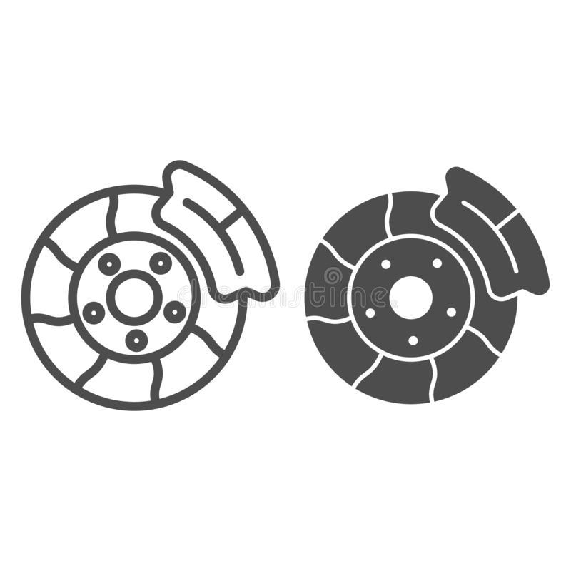 Brake shoe line and glyph icon. Automobile disc vector illustration isolated on white. Car part outline style design. Designed for web and app. Eps 10 royalty free illustration