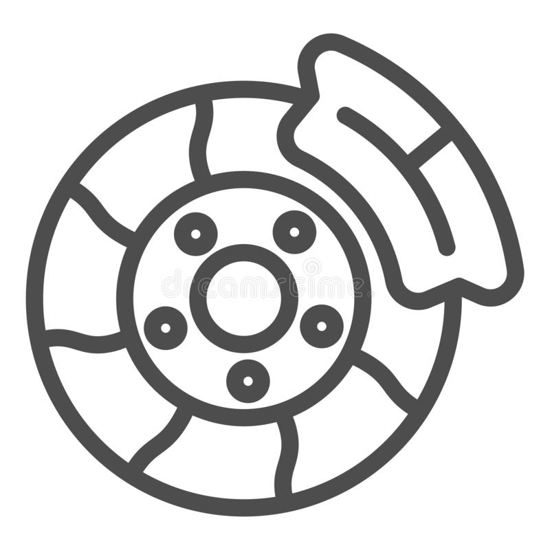 Brake shoe line icon. Automobile disc vector illustration isolated on white. Car part outline style design, designed for. Web and app. Eps 10 royalty free illustration