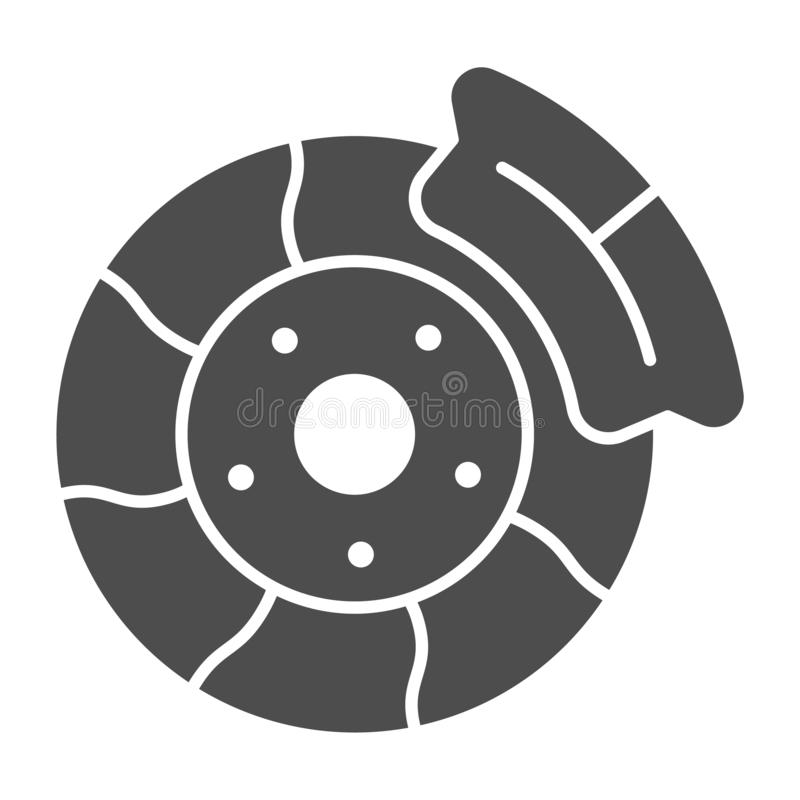 Brake shoe solid icon. Automobile disc vector illustration isolated on white. Car part glyph style design, designed for. Web and app. Eps 10 vector illustration