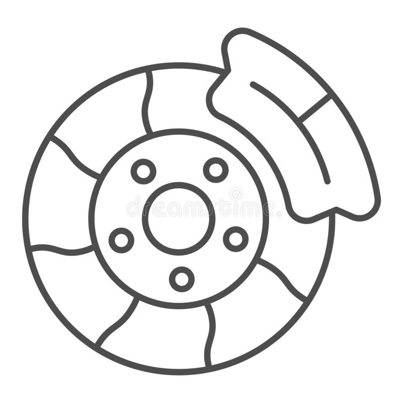 Brake shoe thin line icon. Automobile disc vector illustration isolated on white. Car part outline style design. Designed for web and app. Eps 10 vector illustration