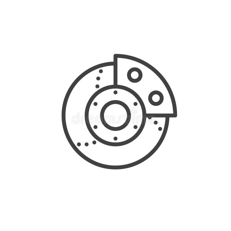Brake system line icon. Car brake system line icon, outline vector sign, linear style pictogram isolated on white. Symbol, logo illustration. Editable stroke stock illustration
