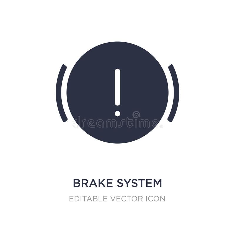 Brake system warning icon on white background. Simple element illustration from Shapes concept. Brake system warning icon symbol design royalty free illustration