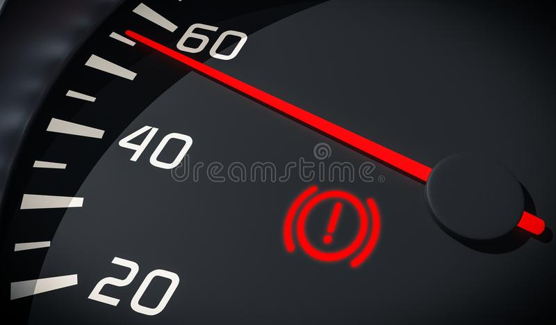 Brake system warning light in car dashboard. 3D rendered illustration. Close up view stock illustration