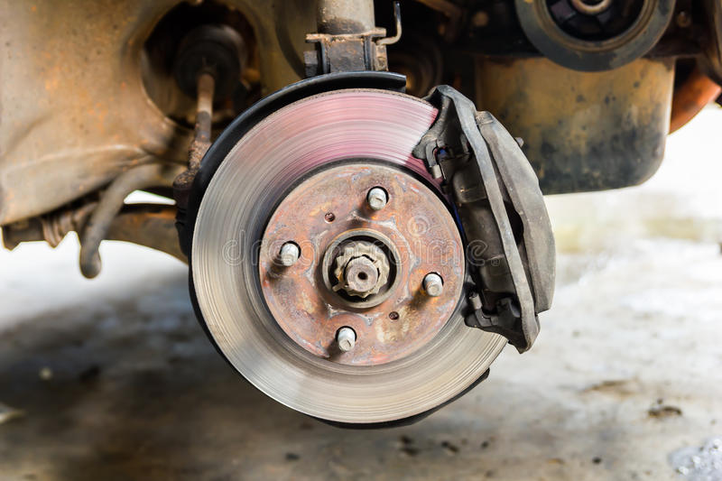 Brakes on a car. With removed wheel royalty free stock photos
