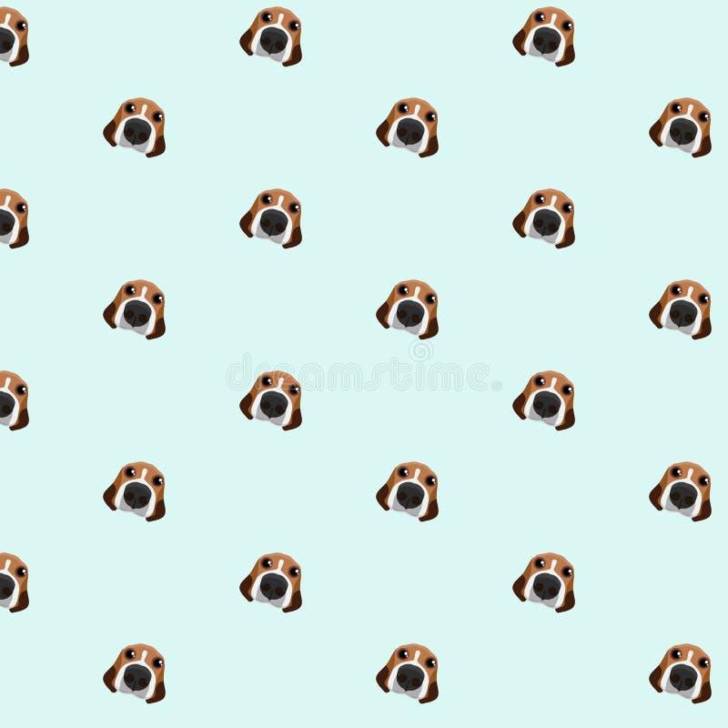 Brakhond op blauw patroon als achtergrond vector illustratie