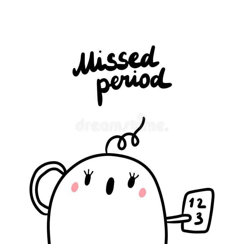 Brakujący okres wczesny objaw ciążowa ręka rysująca ilustracja z ślicznym marshmallow royalty ilustracja